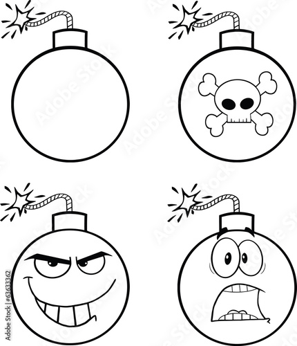 Black and White Bomb Cartoon Mascot Characters. Collection Set