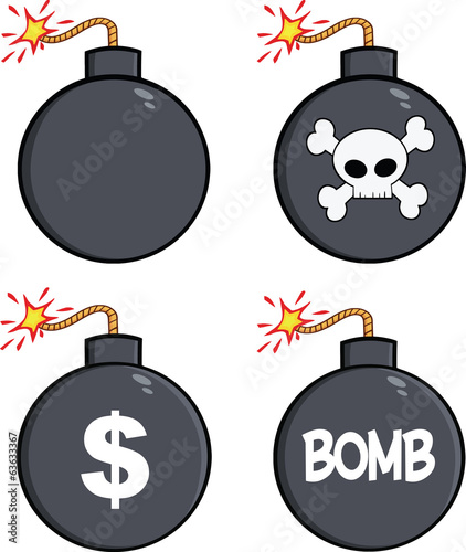Various Cartoon Bomb. Collection Set