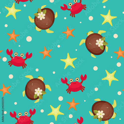 Sea life seamless wallpaper. Cartoon vector illustration