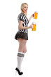 woman in soccer referee clothes with beer in her hands