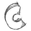Sketchy hand drawn letter C isolated on white