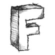 Sketchy hand drawn letter F isolated on white
