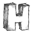 Sketchy hand drawn letter H isolated on white
