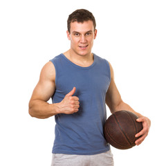 Basketball player posing. Isolated on white background