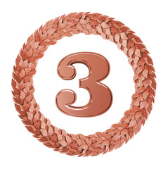 The number 3 in round the Laurel wreath of bronze
