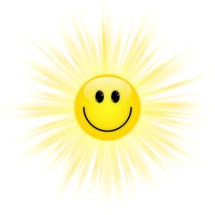 Strahlende Smiley-Sonne – Vektor