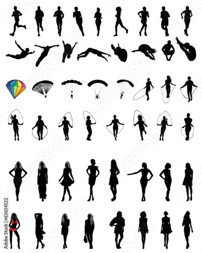 Silhouettes of people in different situations 2, vector