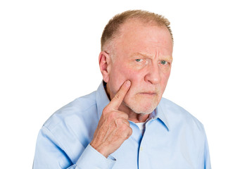 Aren't you ashamed of yourself? Angry senior elderly man