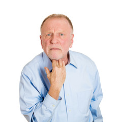 I don't give a darn. Portrait upset angry senior, older man