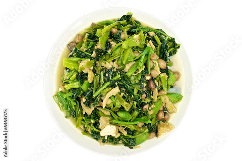 Morning glory spinach fried groundnut vegetarian food isolated