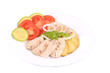 Sliced chicken fillet and vegetables.