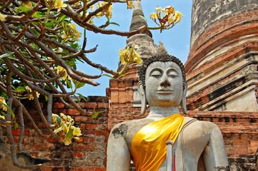 Buddha statue with orange band in Ayutthaya, Thailand