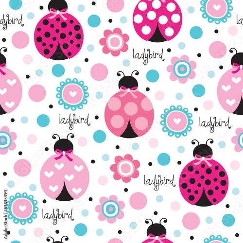 cute and flower ladybird pattern vector illustration