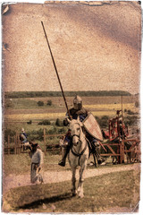 Armored knight on warhorse - retro postcard