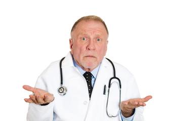 Portrait senior doctor says I don't know, white background