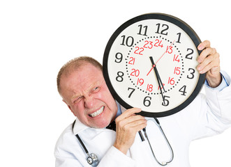 Senior, elderly male doctor pressured by time