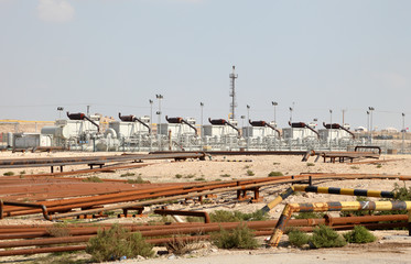 Oil and gas industry in the desert of Bahrain, Middle East