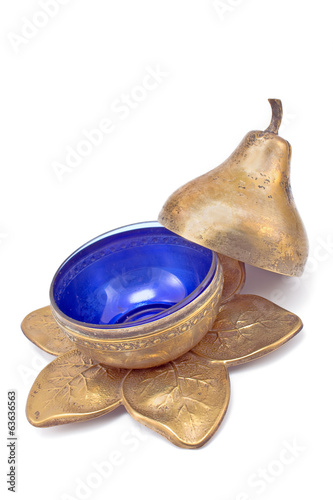 Antique brass pear-shaped pot isolated on white
