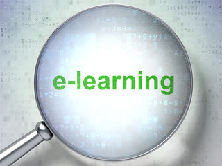 Education concept: E-learning with optical glass