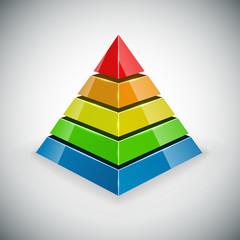 Pyramid with color segments design element.