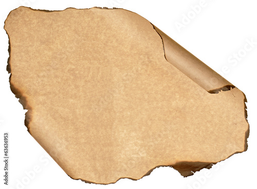 burnt sheet old paper isolated white background