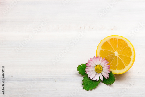 Lemon on wooden board