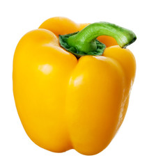 Yellow bell pepper isolated on white