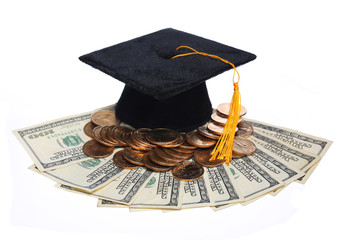 Black Graduation Cap and Money isolated.