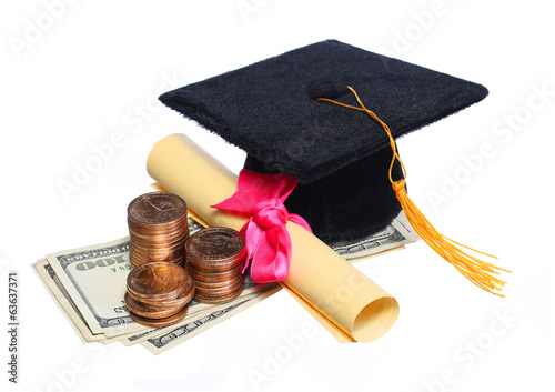 Black Graduation Cap and Degree with Money isolated.