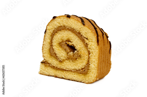 Sweet roll cake isolated on white background