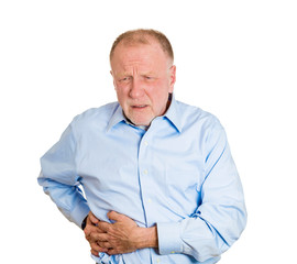 Senior, old man having right-sided abdominal pain