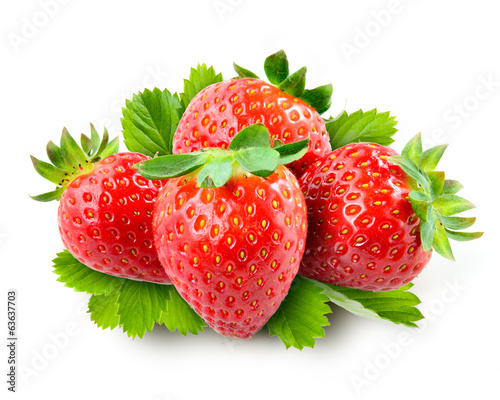 Strawberry with leaves isolated on white background.