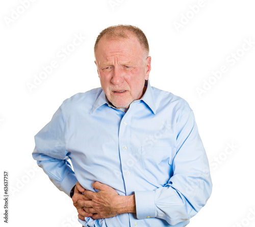 Senior, old man having right-sided abdominal pain