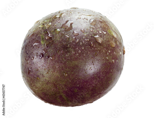 Passion fruit with drops isolated on white background
