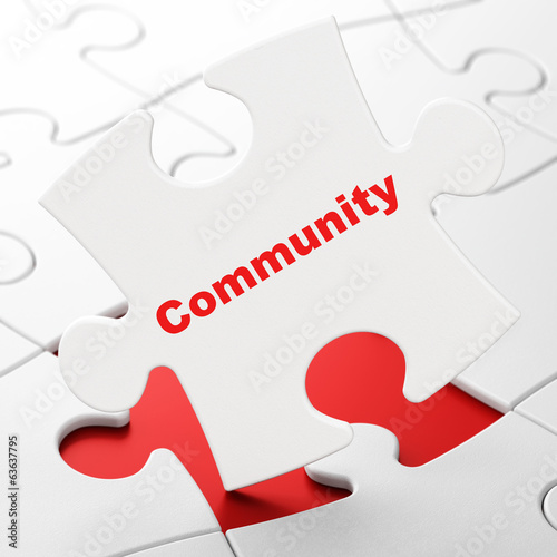 Social media concept: Community on puzzle background