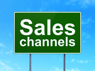 Advertising concept: Sales Channels on road sign background