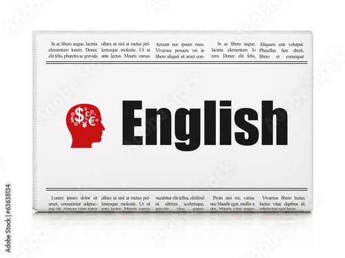 Education concept: newspaper with English and Head With Finance