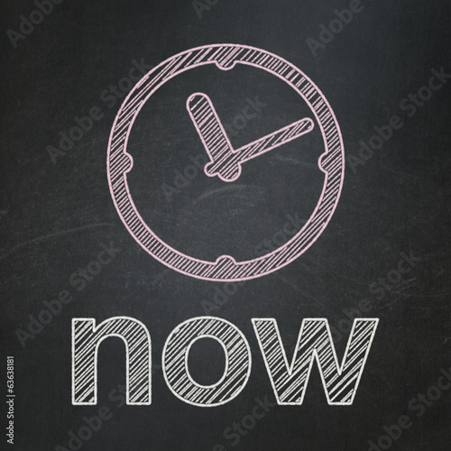 Timeline concept: Clock and Now on chalkboard background