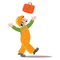 happy worker in jumpsuit throws up a suitcase