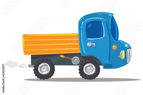 Funny orange with blue truck