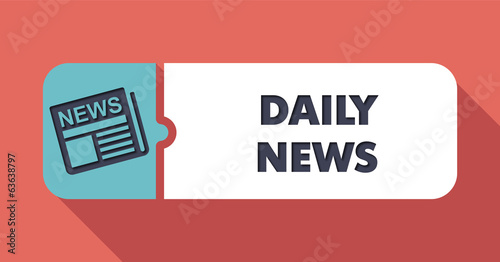 Daily News Concept in Flat Design on Scarlet Background.