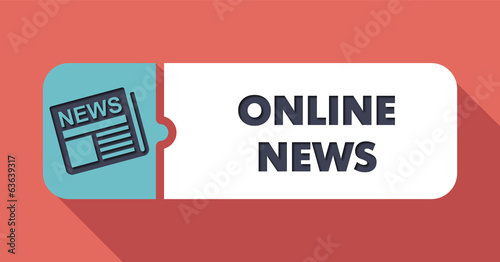 Online News Concept in Flat Design on Scarlet Background.