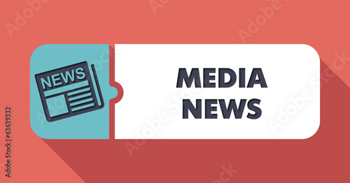 Media News Concept in Flat Design on Scarlet Background.