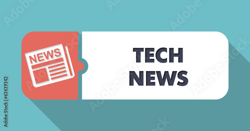 Tech News Concept in Flat Design on Blue Background.