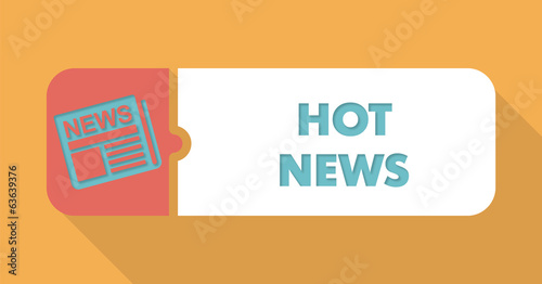 Hot News Concept in Flat Design on Orange Background.
