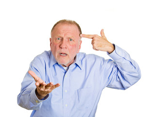 Old upset man asking a question are you crazy?