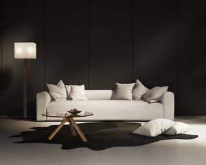 Elegant contemporary fresh interior with white sofa