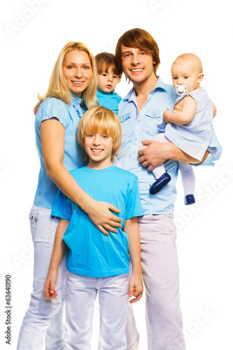 canvas print picture Beautiful family with 3 kids
