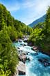 Leinwanddruck Bild - Vivid Swiss landscape with  pure river stream