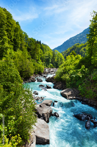 Foto op Canvas Weide, Moeras Vivid Swiss landscape with pure river stream